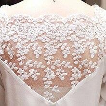 Women 34 Sleeve Lace Hollow Casual Chiffon Crop Tops