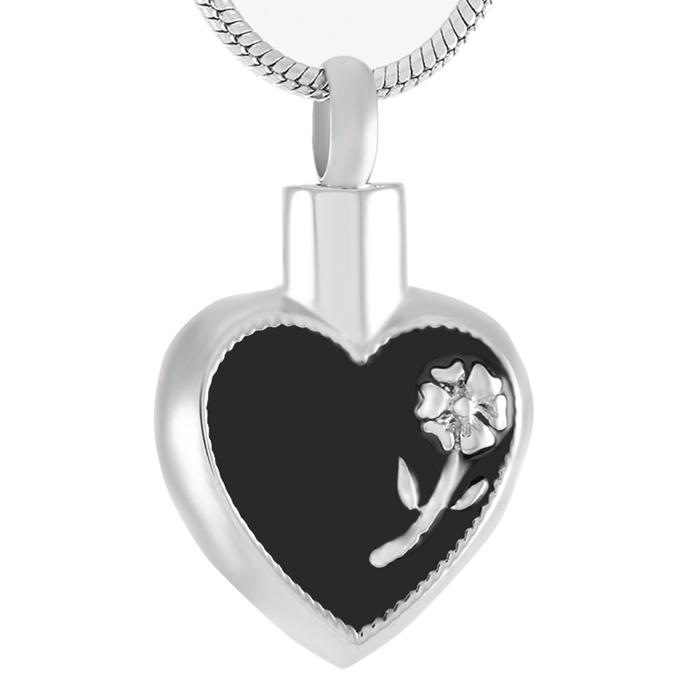 chain product black steel and memorial jewelry enamel store necklace shield motorcycle ash keepsake gift with waterproof stainless pendant urn cremation bag lily