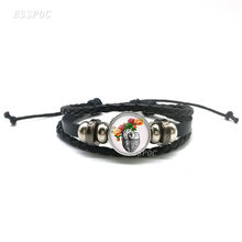 Кожаные браслеты из кабошона в форме сердца черные Многослойные