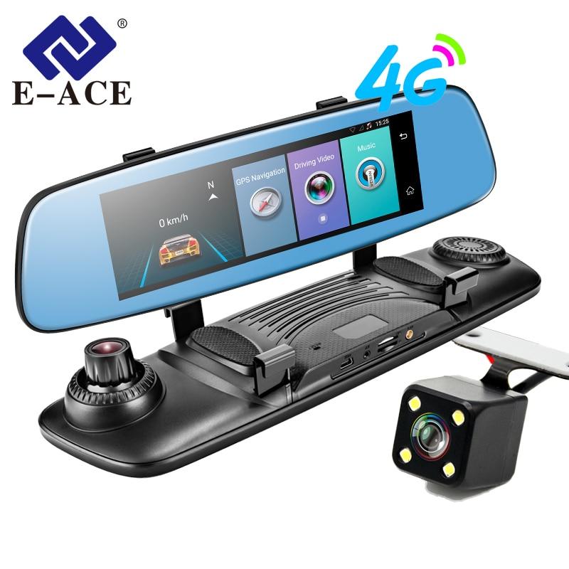 E-ACE 4G Car DVR 7.86 Inch Touch Mirror Video Recorder ADAS LDWS Android 5.1 GPS Navigation With Dual Camara Lens Auto Dashcam