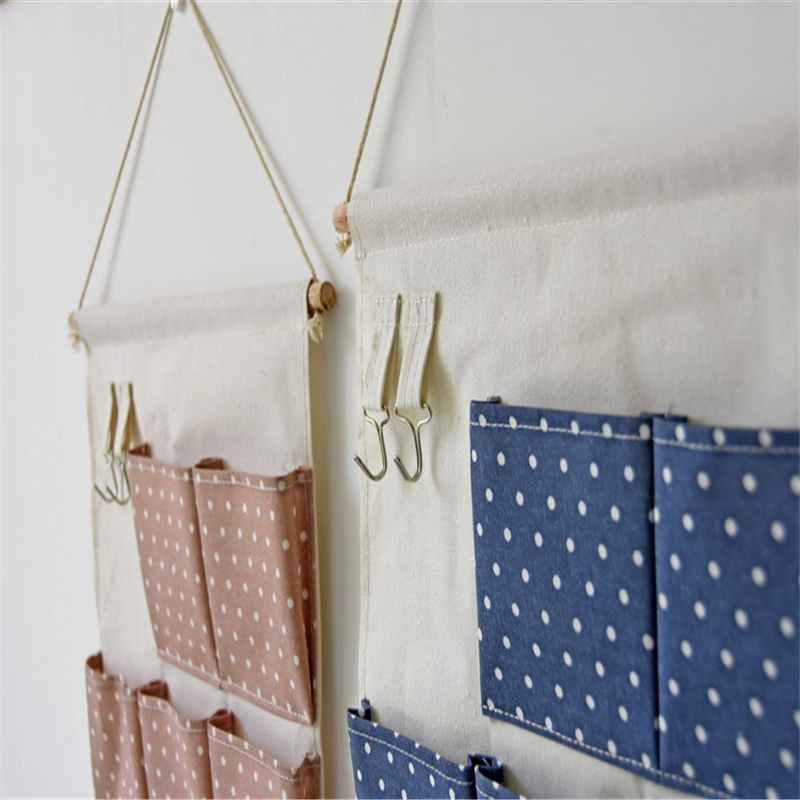 New Natural Hanging Storage Pockets Cotton Linen 7 Pockets Organizer Fabric  Hanging Type Mini Dots Pouch Bag Wall Organizor In Storage Bags From Home  ...