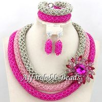 Beautiful Crystal Bridal Women African Beads Jewelry Sets Wedding Necklace Jewelry Set Wedding Gift BN340