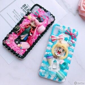 Image 3 - Pour Samsung S9/10 plus + étui bricolage note8/note9 3D marin lune couverture de téléphone Galaxy s8/s9 + s6/s7 bord à la main crémeux étui fille cadeaux