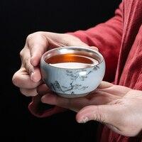 110ml 999 טהור כסף ספל תה בעבודת יד קרמיקה כוס המצוירת ביד מאסטר קטן תה קערת Drinkware Teaware מיכל אוסף כוסות