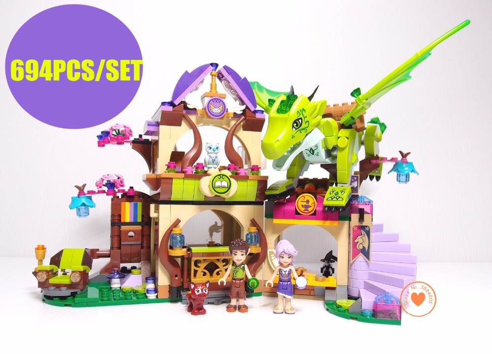 New Dragon Forest Castle fit legoings Fairy elves dragon figures friends Building Block Bricks Toys Kids Gift 41176 girls gift 2018 new girl friends fairy elves dragon building blocks kit brick toys compatible legoes kid gift fairy elves girls birthday