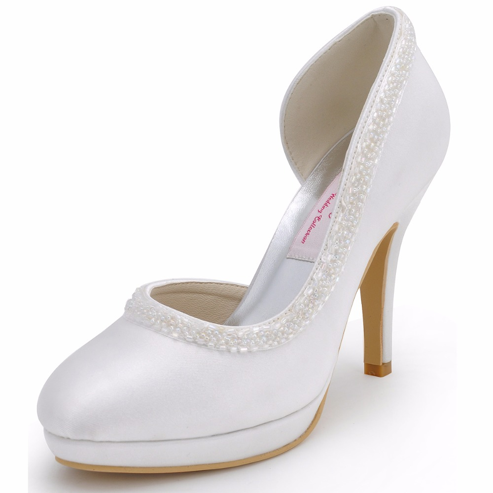 Woman Shoes EL-005-PF White Ivory Wedding Bridal Shoes Platforms Closed Toe High  Heels Bading Satin Prom Party Pumps 5774fdcd10f8