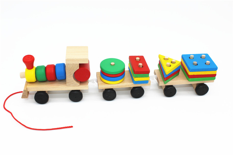 SUKIToy classic wooden models building toys blocks train for children boys Montessori game for kids gift shape matching 4