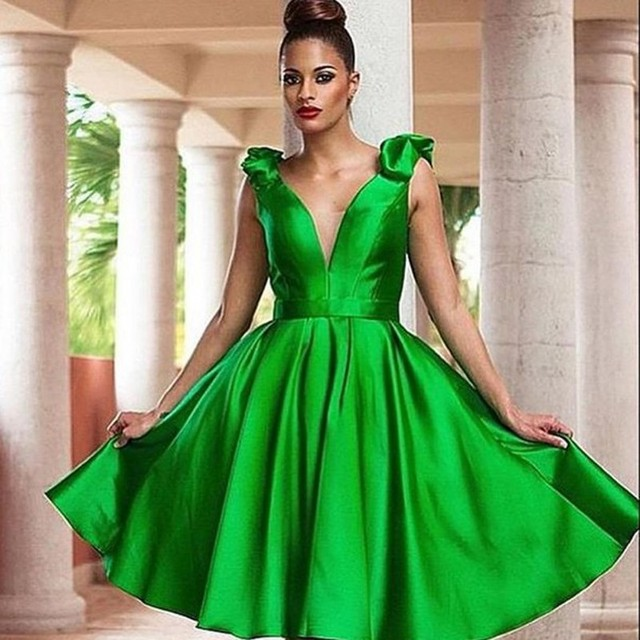 New Emerald Green Cocktail Party Dresses Short Dresses Satin V Neck 2016 Dress Vestidos De Noite Para A Festa 2017