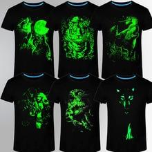 2017 wolf Men's 3D T-shirt animal print Fluorescent Lovers Custom Short sleeve Luminous Summer Top Men Lightweight T shirt skull