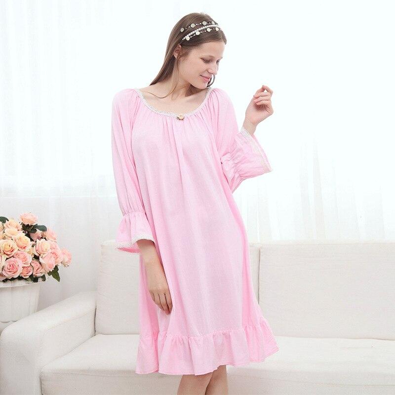 Bracelet Sleeve Princess Nightgown Knitted Cotton Nightdress Large Loose Night Wear Korean Style Sleepwear Women Cute Sleepwear