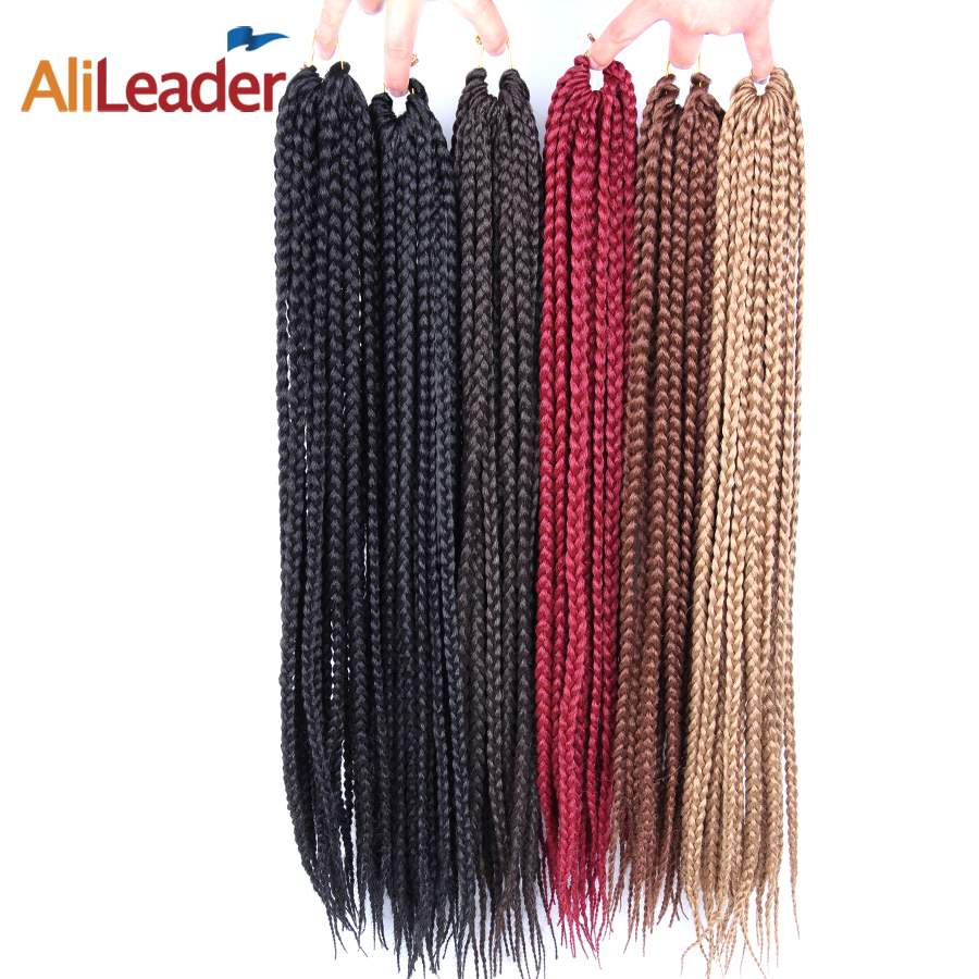 AliLeader 12-24 pouces Crotchet Boîte Tresses Cheveux Extensions #1B/1/2 Blonde Brun Bourgogne Crochet tresses Kanekalon Synthétique Cheveux