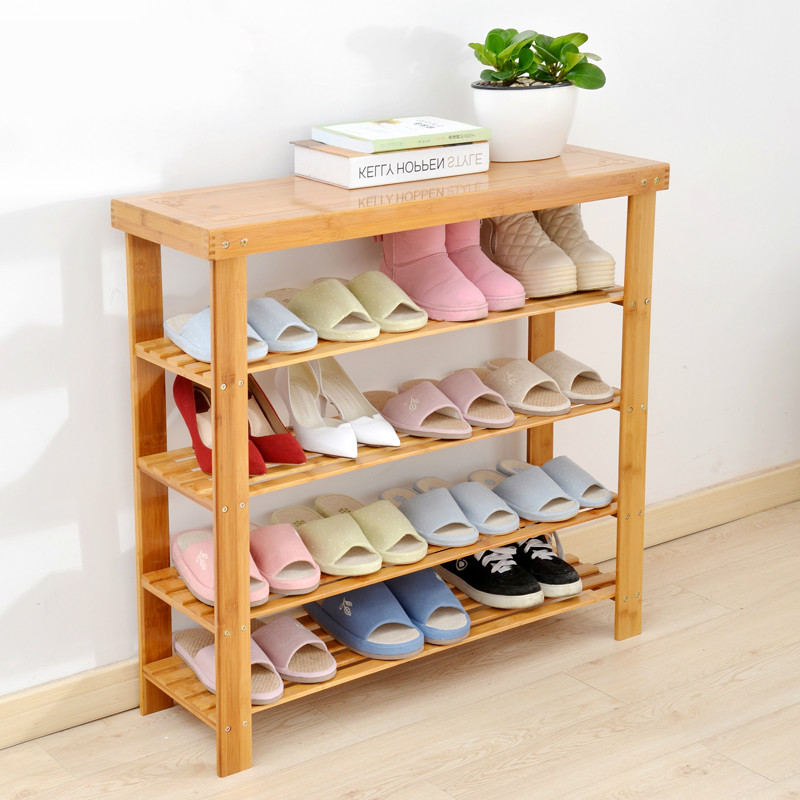 Solid Wooden Bamboo Shoe Cabinet Shoe Stool Rack Multi-layer Storage Rack Assembled Easily Sittable Slipper Storage Rack Stable