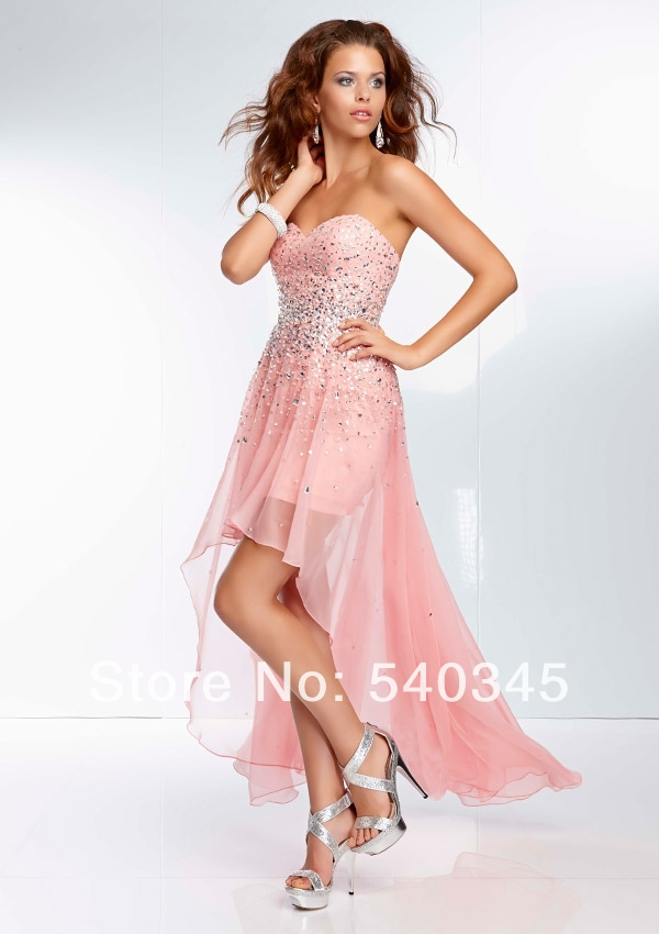 Summer Front Short Back Long A-Line Sweetheart Party   Dress   Crystal Sequined Bead Sexy Chiffon Floor-Length   Prom     Dresses   2014 A85