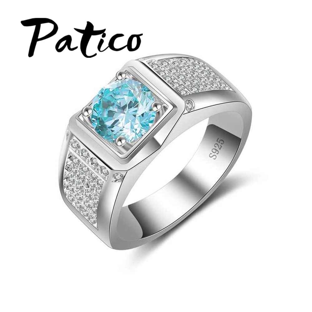 Patico ювелирные изделия обещание Обручальные кольца для пары 925 Серебряная свадьба Кольца с роскошной кубического циркония камень любителей