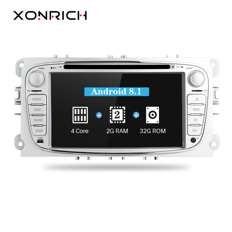 Xonrich Voiture DVD Lecteur 2Din Android 8.1 Pour Ford Focus 2 S-Max C-Max Mondeo Galaxy Kuga 2008-2010 GPS Autoradio Audio StereoDAB +