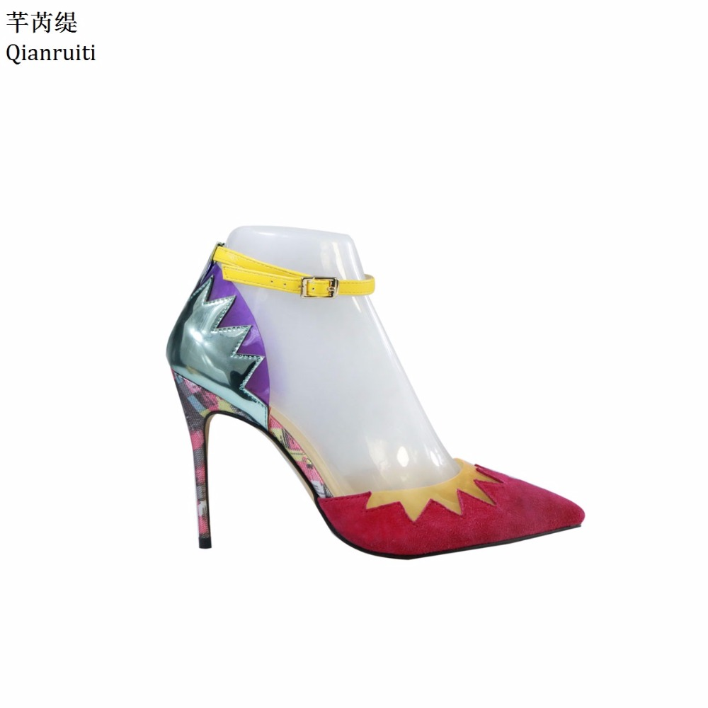 Qianruiti Patchwork Suede Leather High Heels Women Sandals Ankle Buckle Strap Women Pumps Sexy Pointed Toe High Heels Shoes hot 2016 new fashion t strap buckle pumps women high heels ladies sexy pointed toe summer party wedding patchwork shoes sandals
