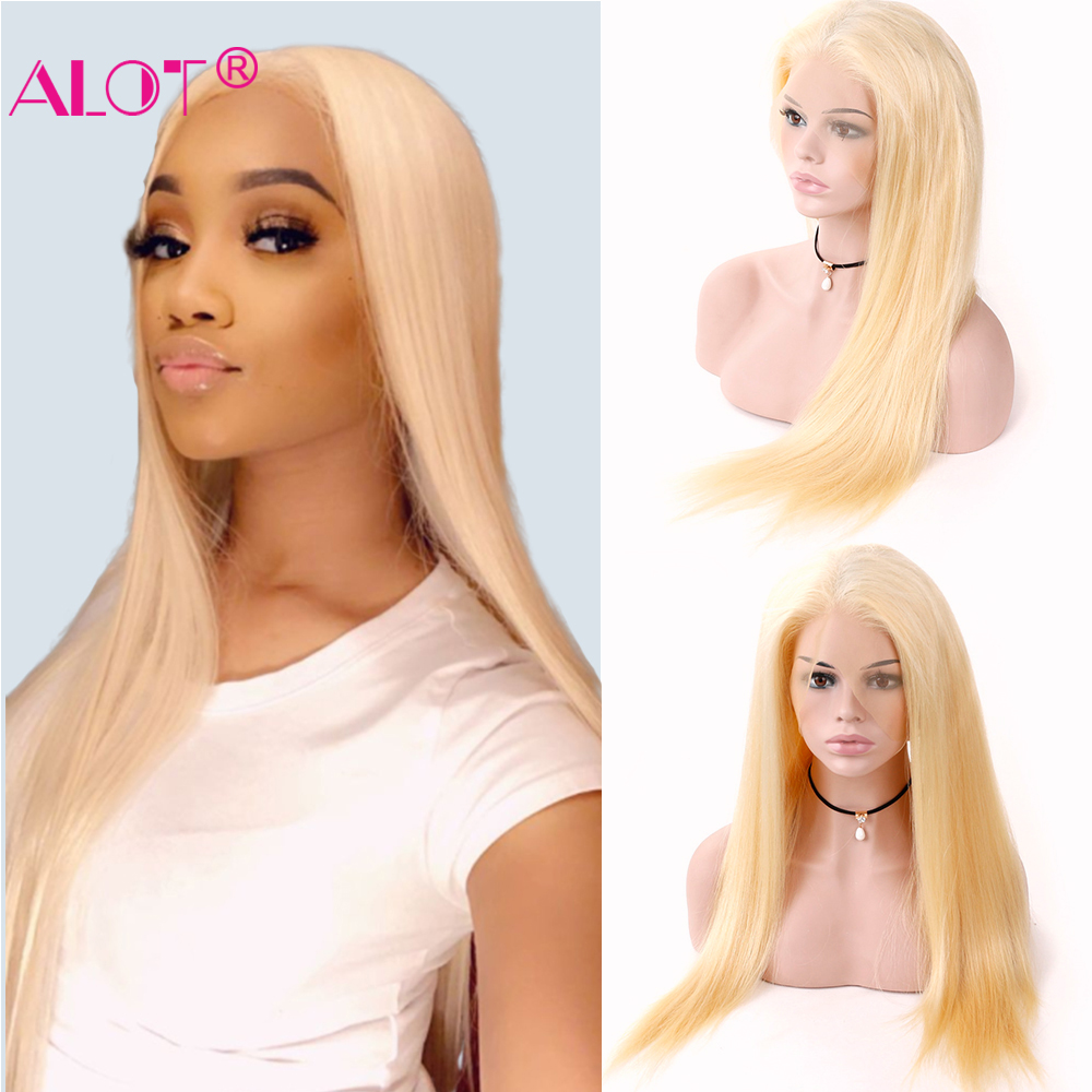 613 Honey Blond Lace Frontal Human Hair Wigs Brazilian Remy Transparent Lace Front Human Hair Wigs