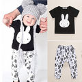 2pcs Toddler Newborn  Baby Boy Clothes Set  T-shirt Tops+ Collapse Pants Bunny Pattern Children Boys Girl Clothing Set