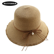 MATTYDOLI Solid Color Straw Hat Pearl Bow Wide Side Raw Sun Summer Outdoor Beach Woman Can Be Folded Wholesale