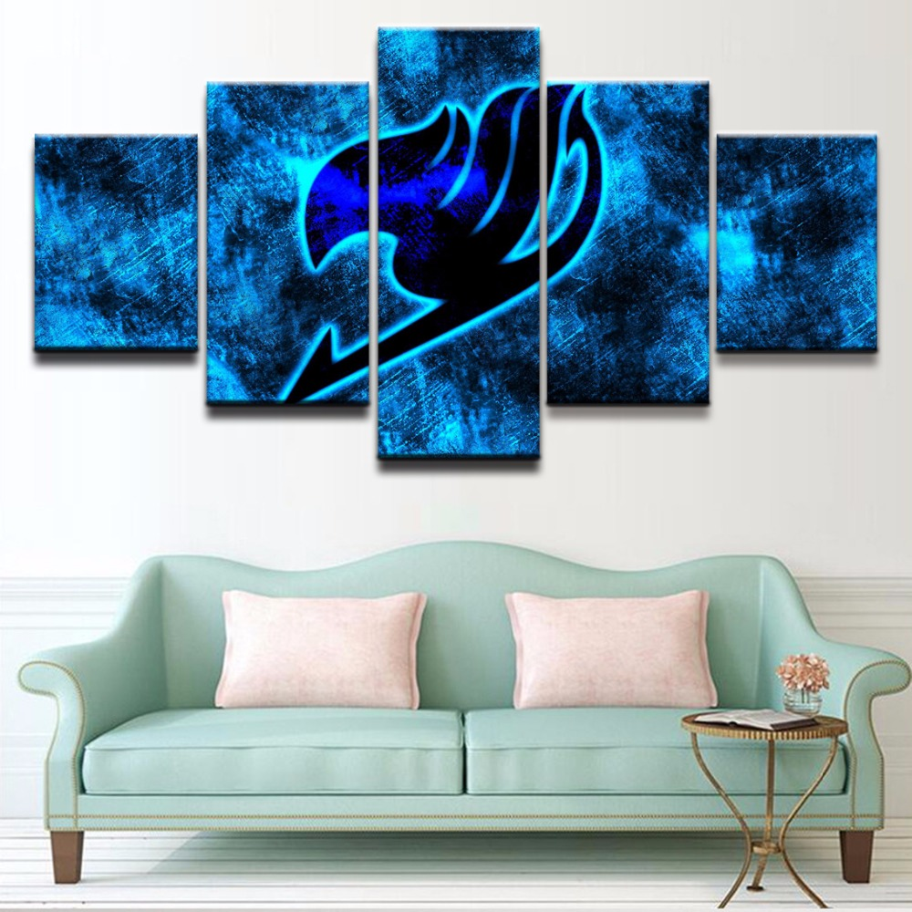 Canvas Print Modern Artwork Canvas Painting 5 Panel Anime Fairy Tail <font><b>Logo</b></font> <font><b>Poster</b></font> Wall Art Home Decor For Living Room Pictures image