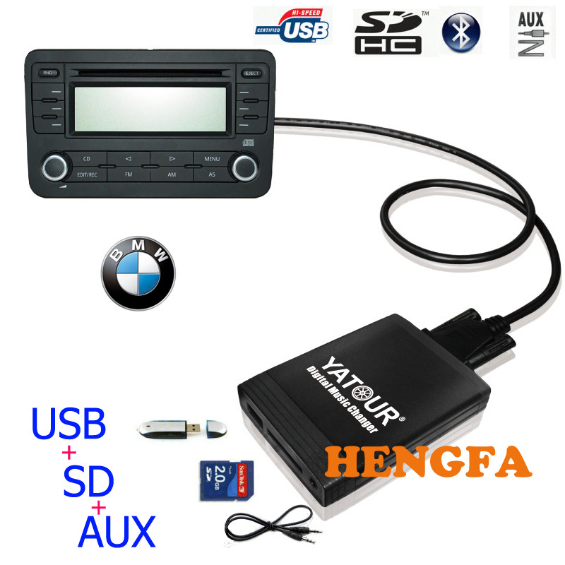 BMW Flat Bluetooth CD Changer AUX Adapter Support Android MP3 USB Charging for BMW Flat 40 Pin X5 X3 E46 E39 E38 Z4 Z8 BTA-BMW2