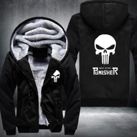 2017 Marvel Punisher Skull Comics Supper Hero Hoodies Men Zipper Coats Anime Hip Hop Streetwear Thicken