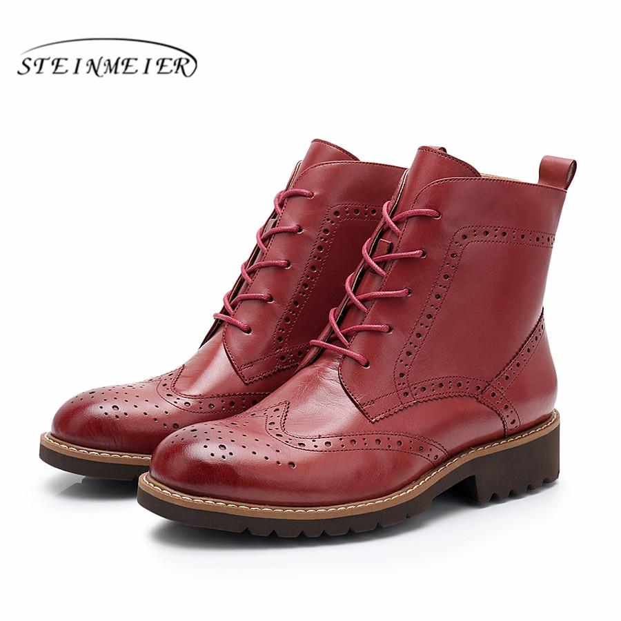 Yinzo buty zimowe kobiet prawdziwej skóry kostki krótkie buty damskie koronki buty 2019 brązowy buty damskie Steinmeier w Buty do kostki od Buty na  Grupa 3