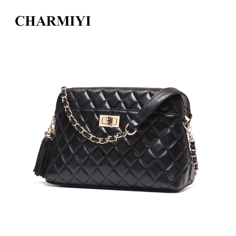 CHARMIYI Genuine Leather Shell Women Shoulder bag Designer Clutches Ladies Handbags Famous Brand Fashion Women Messenger bags women shoulder bags leather handbags shell crossbody bag brand design small single messenger bolsa tote sweet fashion style
