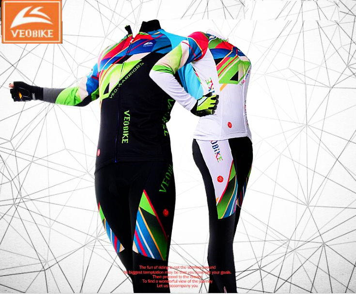 VEOBIKE 2018 Couple BTM cycling sets long-sleeve jersey+pants bicycle suits Spring Autumn couple riding sets cycling clothing