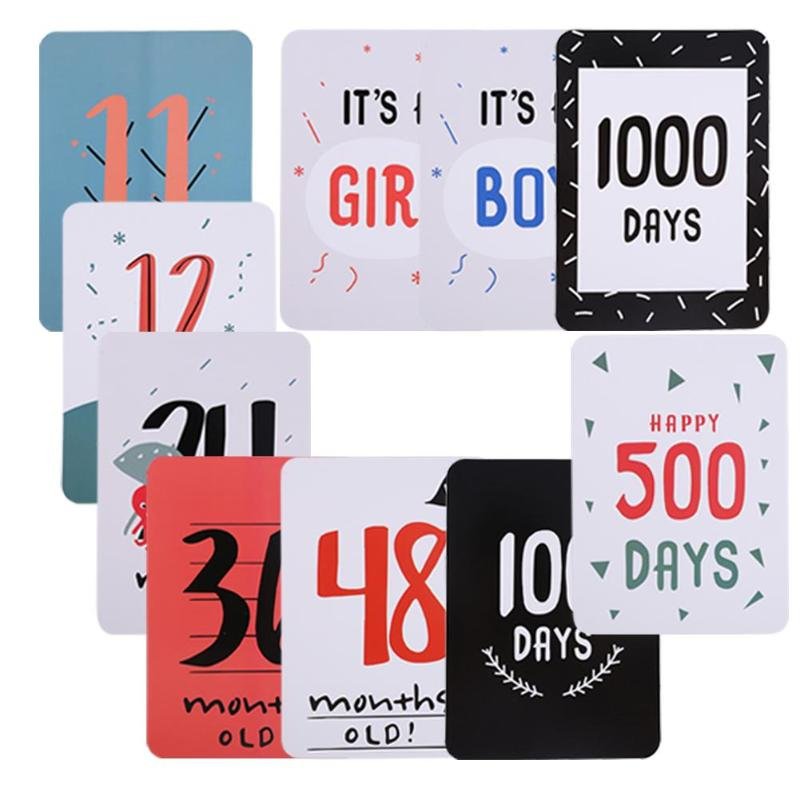1 Set Days Month Commemorative Card Shoot Photos Background For Pregnant Women Milestone Photographic Props Infant Growth