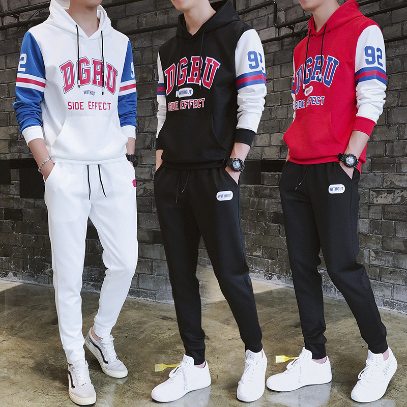 TOTURN Men Set Hoodie Sweatshirt Suit Letter Print Pattern Pullover Jacket + Elastic Band Pant Male Casual Sporting Suit Clothes