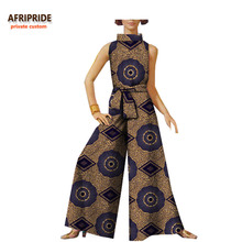 2018 spring&autumn casual jumpsuit for women AFRIPRIDE sleeveless turned-down collar ankle-length wide leg A722910