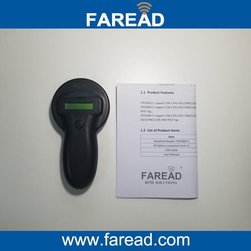 Free Shipping  134.2KHz  ISO11784/5 HDX&FDX-B Animal RFID tag handheld Reader iso11784 5 fdx b em4305 long range 134 2khz rfid animal ear tag for cow sheep management