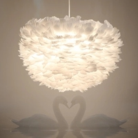 Modern beyaz doğa Kaz tüy Kolye Işıkları romantik E27 için LED kolye lambaları ev aydınlatma restoran yatak odası oturma odası