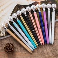 20 Pcs/set Kawaii Colorful Pearl Metal Ball Pens Blue Refill BallPen Gift Ballpoit Pen School Supplies Cute Gift Stationery Item