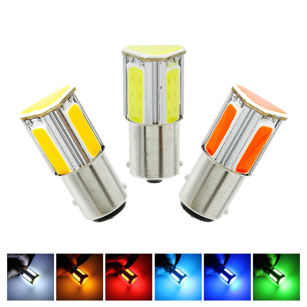 2pcs BA15S P21W 1156 1157 BAY15D COB LED Car Clearance Light Tail Brake Bulb 12V Auto Reverse Bulb Turn Signal Light Universal