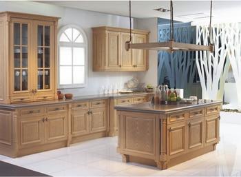 Muebles personalizados para cocina con puerta de madera maciza, armarios de cocina modulares, diseño gratuito, 2017