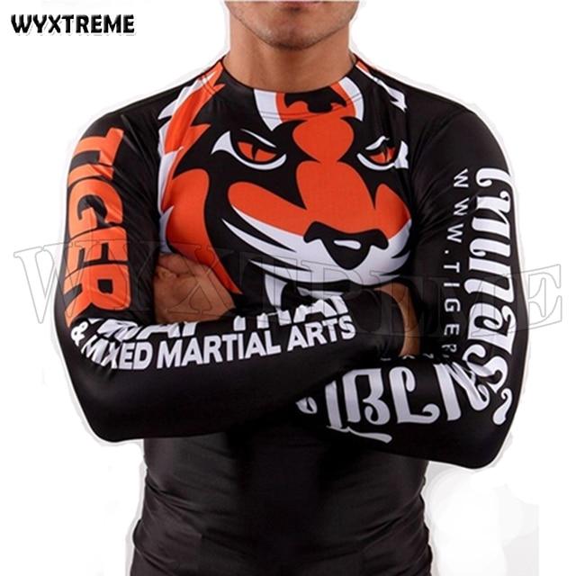 f5507c631 New Promotion Men's Sublimated Tiger Print Rash Guard Muay Thai BJJ Jerseys T  Shirt Breathable Fitness Shirts Boxing Rashguard