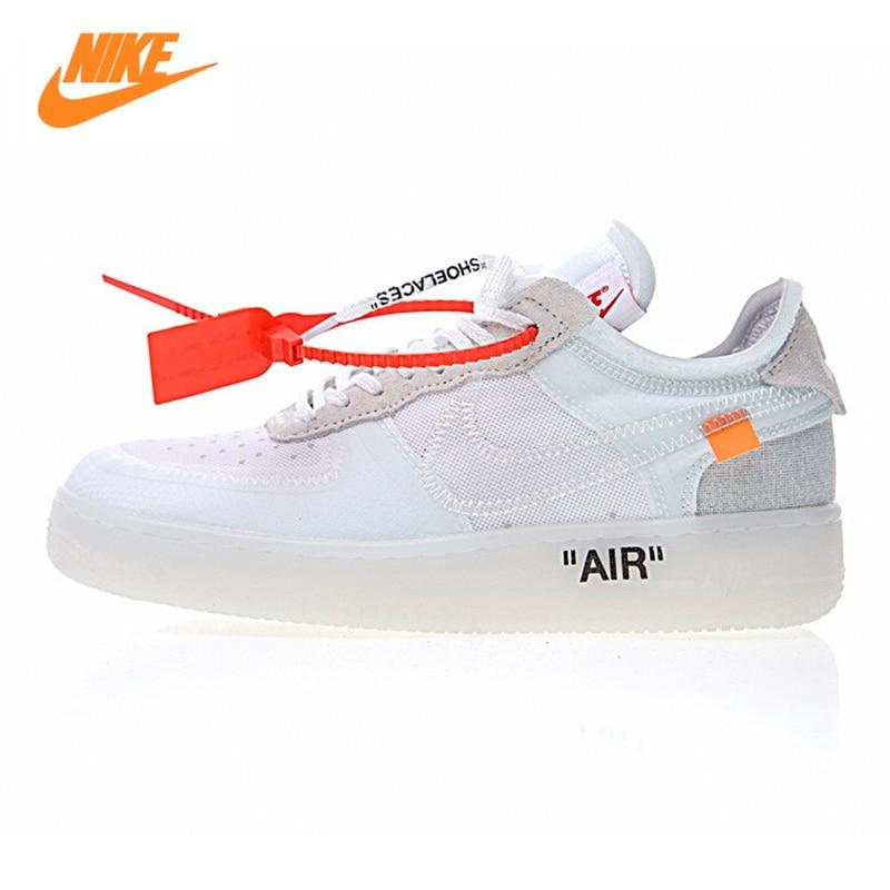 Nike Air X Force 1 Faible Ow AF1 Hommes Planche À Roulettes Chaussures, blanc, Non-slip Léger Résistant À L'abrasion Respirant A04606 100