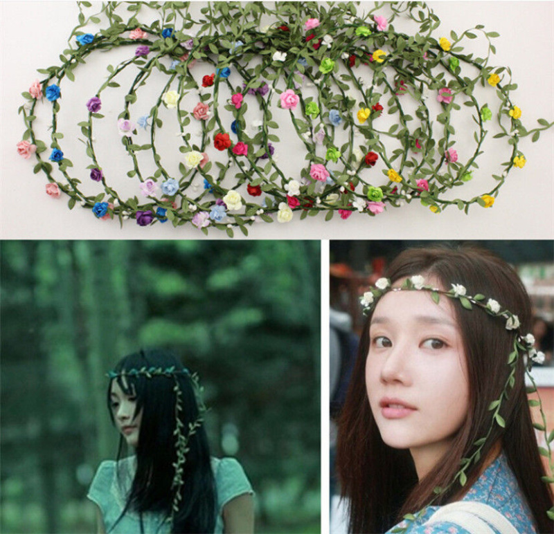 New Bridal Headpiece Bridesmaid Elastic Flower Headband Garland Handmade  Floral Crown Hair Accessories Boho Rosette Hairband 7235589ef5f