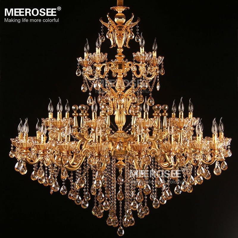Stor Royal Golden Crystal lysekrone lampe Lustres Cristal Suspension - Indendørs belysning - Foto 3
