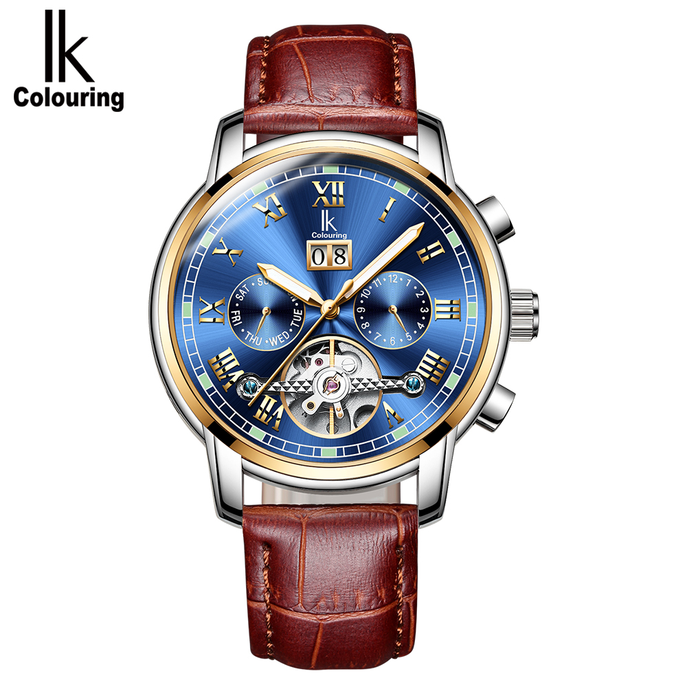 IK colouring Skeleton Tourbillon Mechanical Watch Men Automatic Classic Brown Leather Mechanical Wrist Watches Reloj Hombre