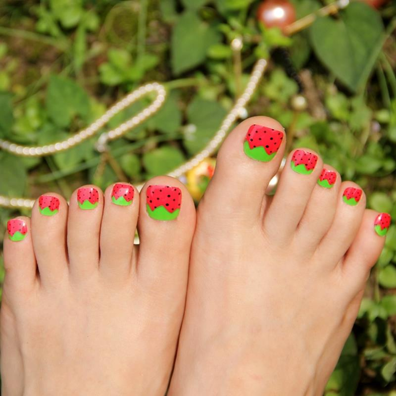 False Toe Nails Art Tips Green Leaves Strawberry Red Acrylic Fake ...