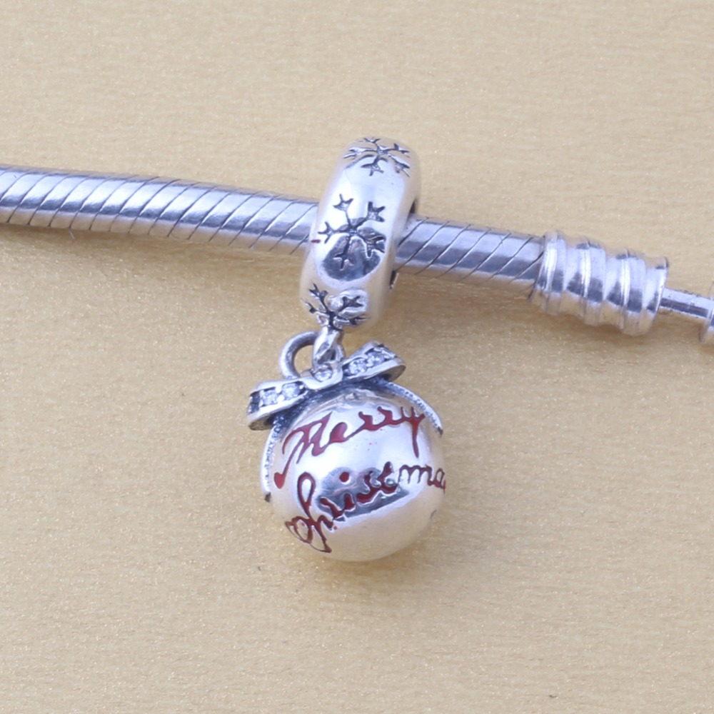 Zmzy 100% 925 Sterling Silver Charm New Red Enamel Merry Christmas Ornament  Pendant Beads Fit