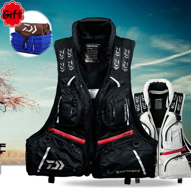 DF-3104 Fishing Vest Life Jacket Men Fishing Clothing Fish Tackle 80N 120KG Flotation Vest Breathable with Free Gift Sweat Towel