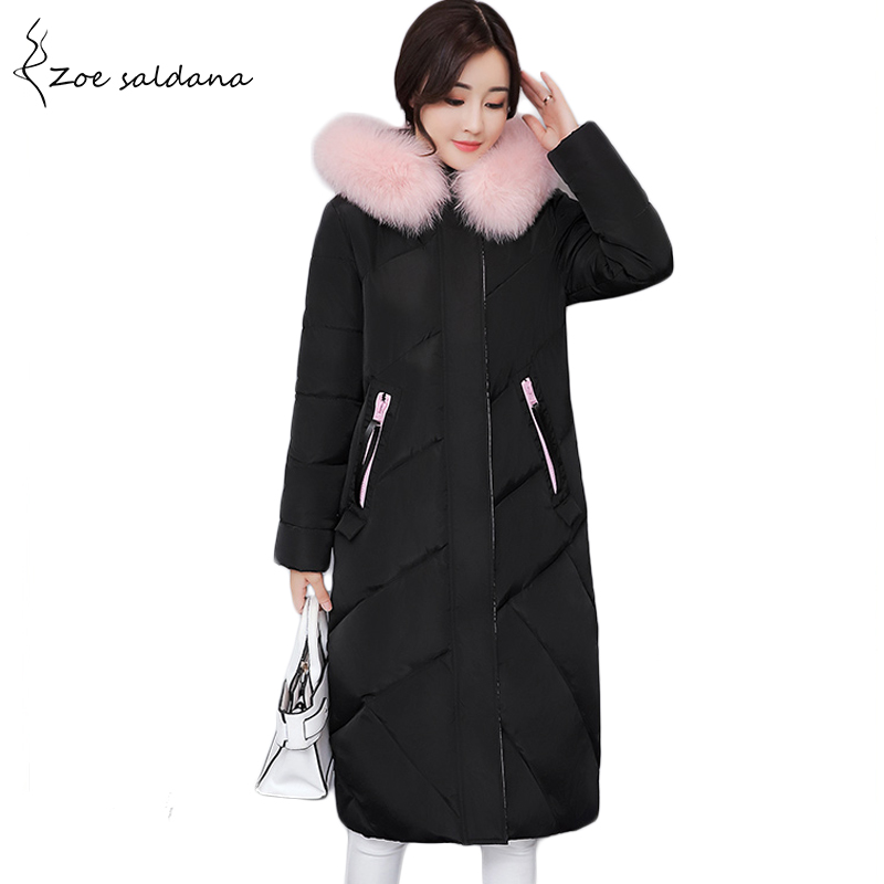 Zoe Saldana 2017 Winter Coat Women Thick Warm Jacket Fur Hooded Long Cotton Padded Parkas Letter Embroidery Overcoat women winter coat leisure big yards hooded fur collar jacket thick warm cotton parkas new style female students overcoat ok238