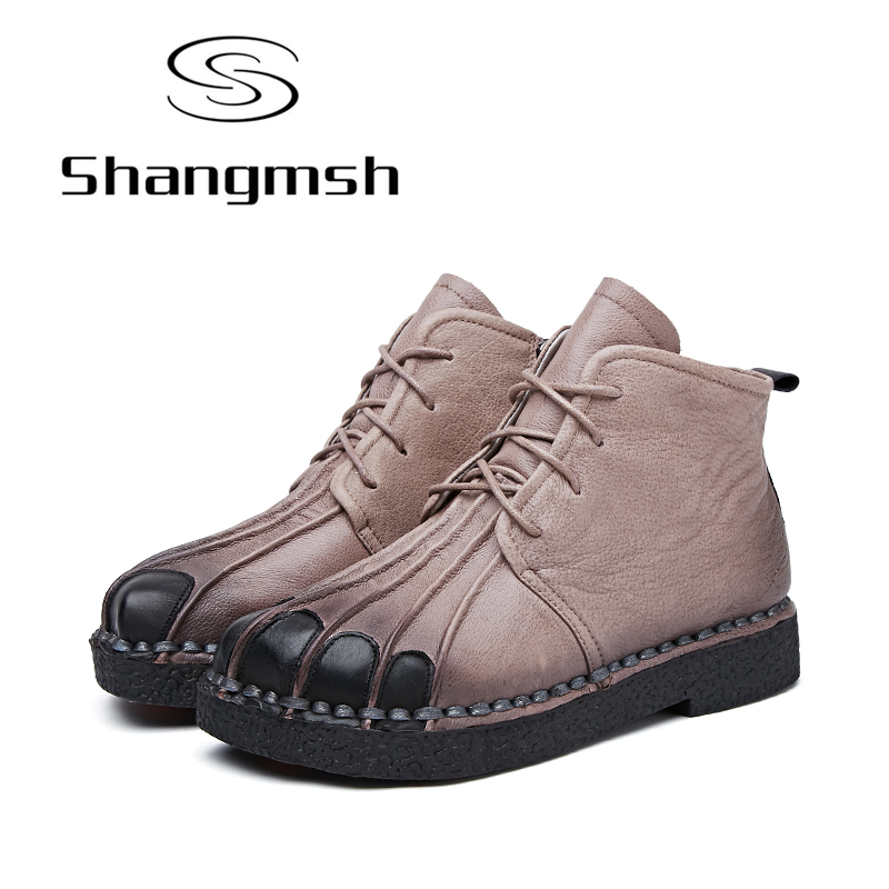 Shangmsh Handmade Women Boots Lace Up Martin Boots Women Ankle Boots Winter Women Shoes Genuine Leather Flats Shoes Puls Size 42 shangmsh brand women s winter boots 2017 retro handmade genuine leather ankle boots soft casual ladies autumn shoes