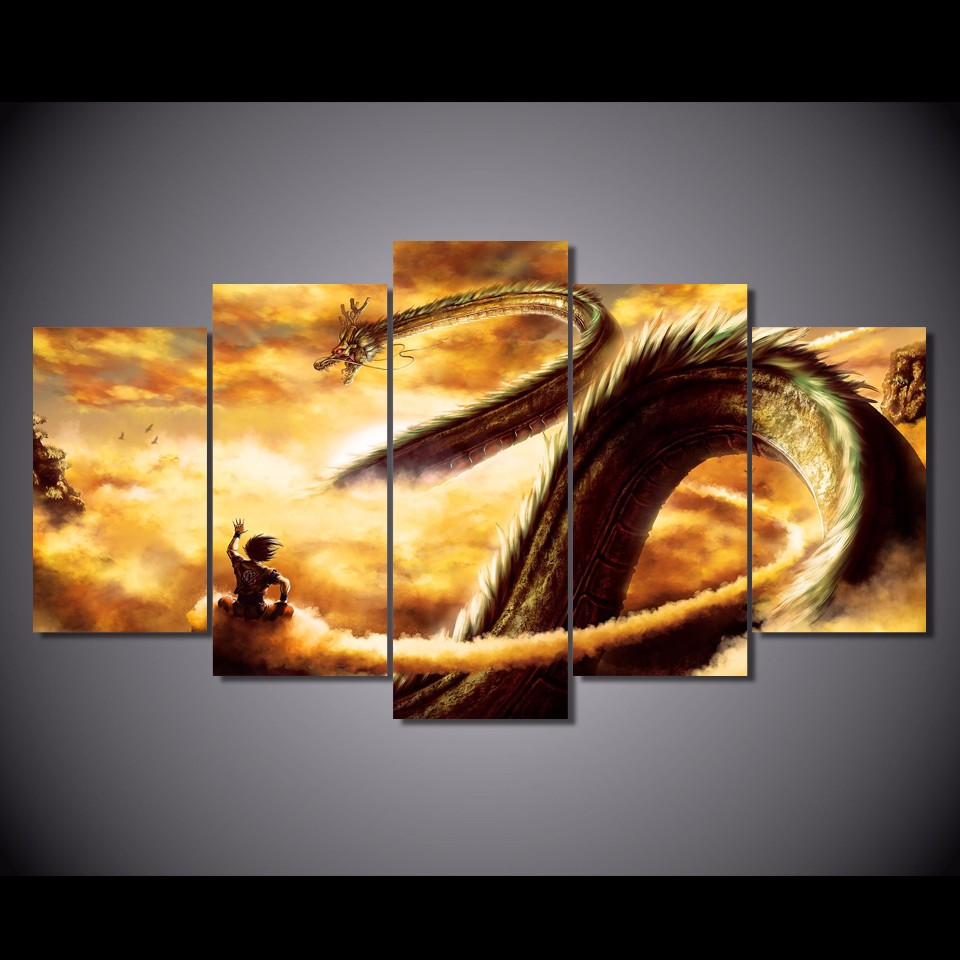 5 Pcs/Set Framed HD Printed Cartoon Dragon Ball Z Picture Wall Art ...