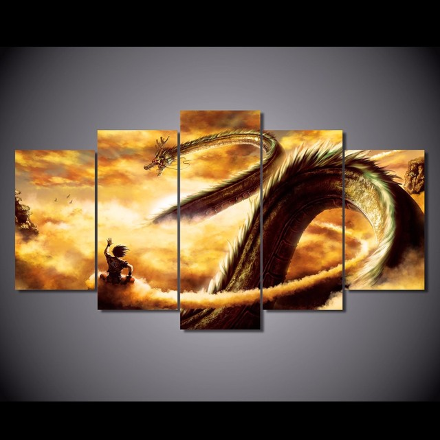 Buy 5 pcs set framed hd printed cartoon for Decoration murale dragon ball