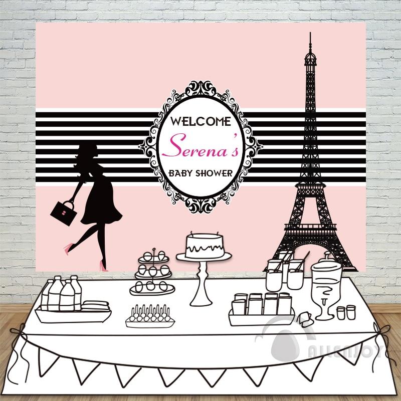 Birthday backdrops Baby Shower Eiffel Tower Background Black and White Stripe Invitation celebration Party Allenjoy customize allenjoy children birthday celebration